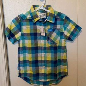 The Children's Place Blue & Yellow Plaid Short Sleeved Dress Shirt